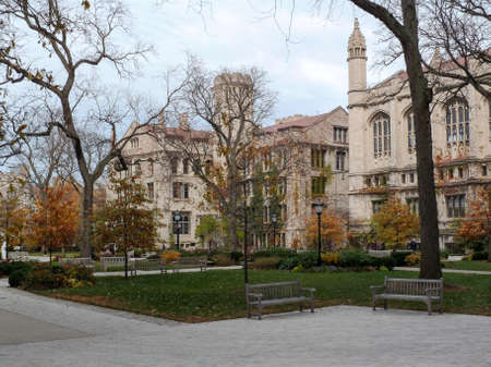 college dorm: On the campus of the University of Chicago on an overcast Fall day in Chicago, IL, USA.