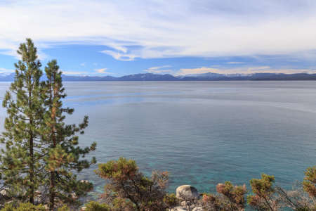 lake tahoe: View across majestic Lake Tahoe from its shores near Incline Village, NV, USA.
