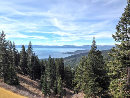 mountainscape: View across majestic Lake Tahoe from its shores near Incline Village, NV, USA.