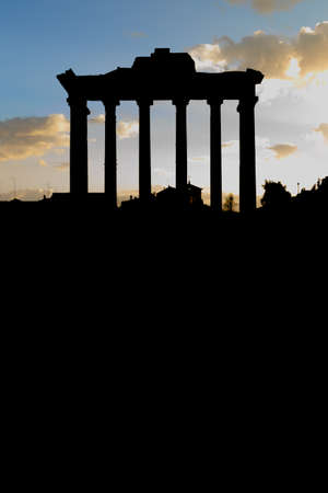 nightfall: Dark Roman Forum at nightfall in Rome, Italy Stock Photo