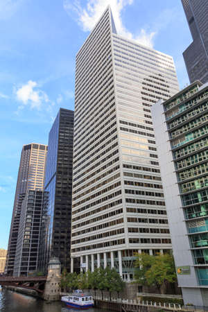 destination scenics: CHICAGO, IL, USA - OCTOBER 11, 2014: Skyscrapers by the Chicago River in downtown Chicago, IL, USA on October 11, 2014. Editorial
