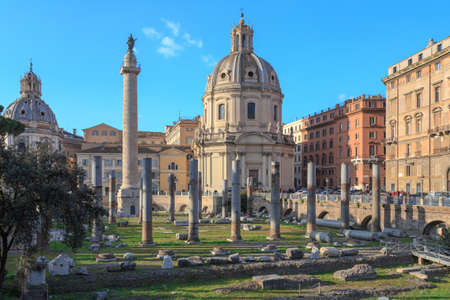 european culture: View across the ancient ruins of Trajans Forum towards Trajans Column in Rome, Italy.