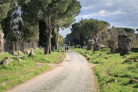 southern european: On the ancient Via Appia, the Appian Way, in Rome, Italy.