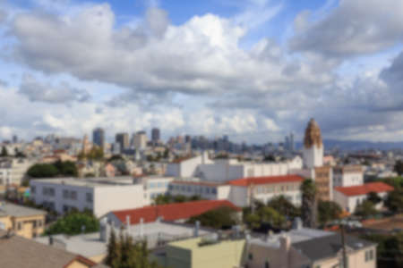 urban sprawl: Blurred background of view over the San Francisco cityscape from near Dolores park in San Francisco, CA, USA.