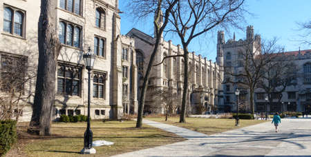 school campus: On the campus of the University of Chicago in Hyde Park, Chicago, IL, USA. Stock Photo