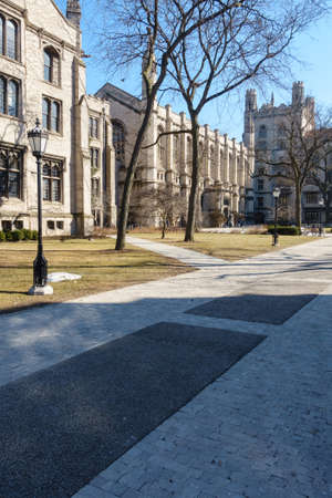 college dorm: On the campus of the University of Chicago in Hyde Park, Chicago, IL, USA. Stock Photo