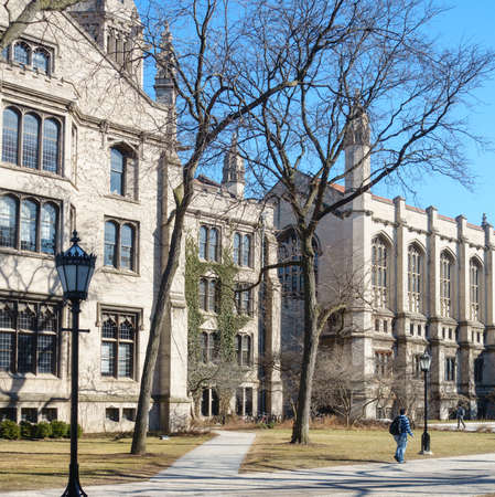 college campus: On the campus of the University of Chicago in Hyde Park, Chicago, IL, USA. Editorial