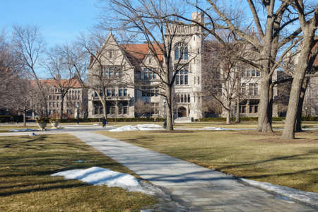 university building: On the campus of the University of Chicago in Hyde Park, Chicago, IL, USA. Editorial