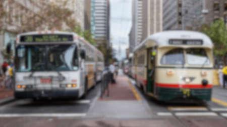 public transportation: Blurred background of San Francisco public transportation vehicles.