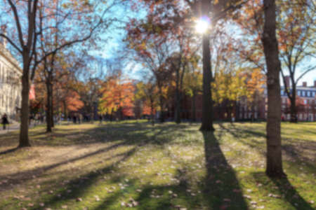 college dorm: Blurred background of Harvard Yard on a beautiful Fall day in Cambridge, MA, USA.