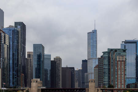 il: Skyscrapers against the cloudy sky in Chicago, IL, USA.