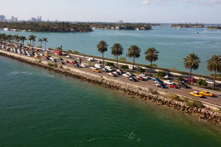 fl: Traffic jam on a highway dam in Miami, FL, USA.