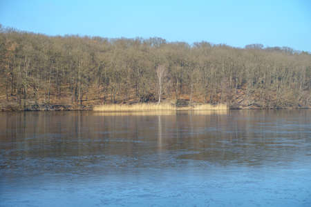wintery day: Frozen lake Schlachtensee in Berlin on a snowless winter day.