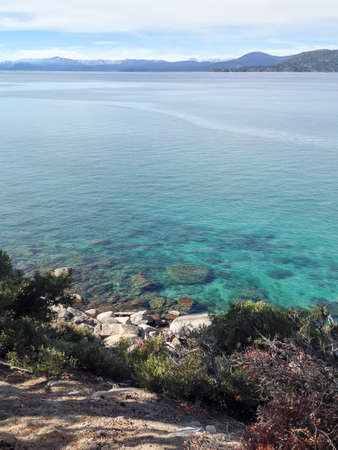 across: View across the turquoise waters of Lake Tahoe. Stock Photo