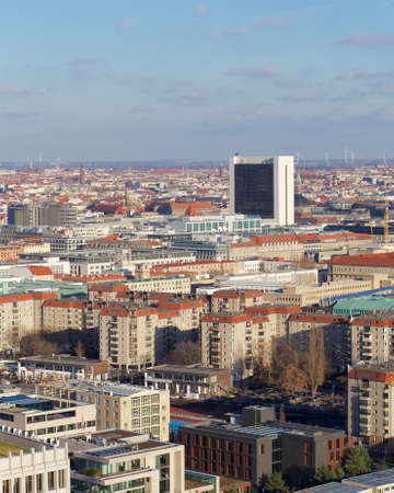 itc: Aerial view of the Berlin-Mitte cityscape in Berlin, Germany.