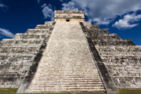 roo: Blurred background of View up the stairs of Kukulkan Pyramid at Chichen Itza, Yucatan, Mexico.