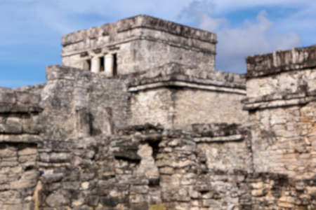 destination scenics: Blurred background of complex of Mayan origin at Tulum, Quintana Roo, Mexico.
