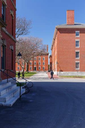 harvard university: CAMBRIDGE, MA, USA - APRIL 9, 2016: View of Harvard University campus on a sunny day in Cambridge, MA, USA on April 9, 2016.