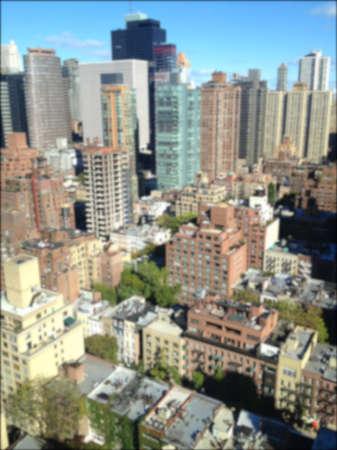 urban sprawl: Background blur of aerial photo of East Midtown Manhattan, New York, NY, USA. Stock Photo