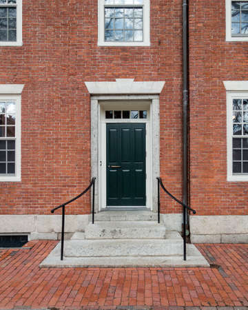 Traditional red brick college dorm dorm. Stock Photo