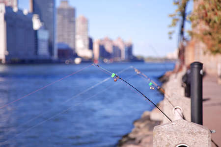 Fishing rods in the East River on Roosevelt Island with the Manhattan skyline in the background in New York, NY, USA.