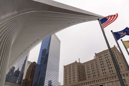 View of architecture around the World Trade Center in Lower Manhattan, New York, NY, USA.