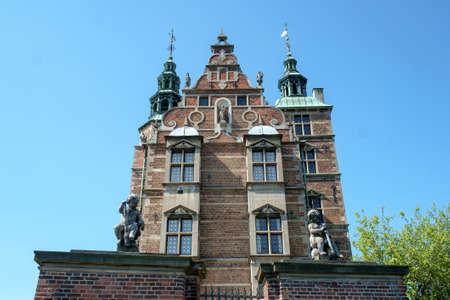 View up at landmark royal palace Rosenborg Castle in Copenhagen, Denmark. Editorial