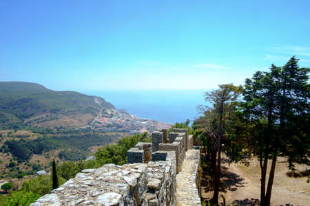 View down from the Moorish caste above Sesimbra towards the Portuguese coastal town. Editorial