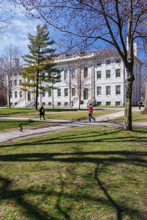 CAMBRIDGE, MA, USA - APRIL 9, 2016: University Hall on Harvard University campus in spring in Cambridge, MA, USA on April 9, 2016.