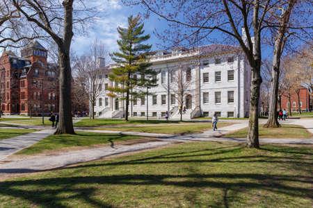 CAMBRIDGE, MA, USA - APRIL 9, 2016: Harvard University campus in spring in Cambridge, MA, USA on April 9, 2016.