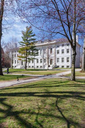 undergraduate: CAMBRIDGE, MA, USA - APRIL 9, 2016: University Hall on Harvard University campus in spring in Cambridge, MA, USA on April 9, 2016.