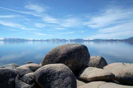 nv: View of beautiful calm Lake Tahoe in March 2017.