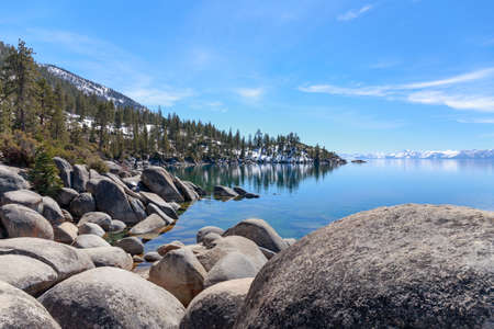 sierra nevada: Views of smooth rocks on the shores of Lake Tahoe.