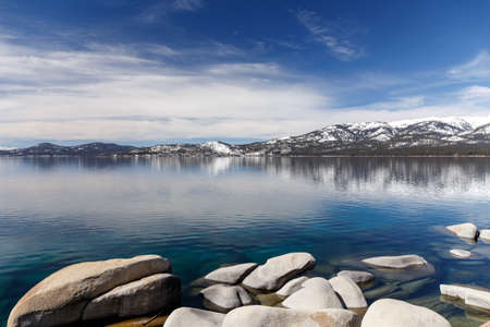 nv: Views of smooth rocks on the shores of Lake Tahoe.
