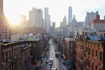 Blurred background of sunset over the Lower East Side of Manhattan, New York, NY, USA. Editorial