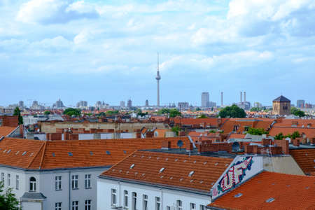 BERLIN, GERMANY - JULY 2017: View over the city rooftops from the Neukölln area of Berlin, Germany, in July 2017