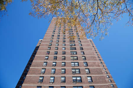 View up nondescript apartment building in New York, NY, USA. Stock Photo