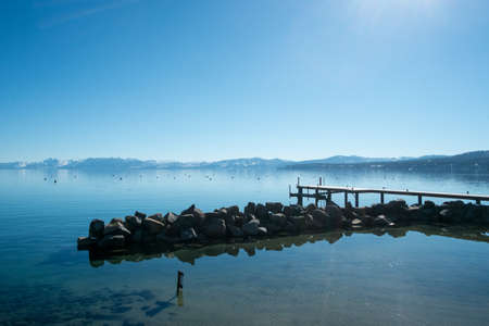 Panoramic view of Lake Tahoe from its Northern shores.