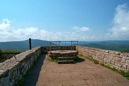 On the rooftop terrace of the Madenburg castle ruin in the Palatinate, Germany. Stock Photo