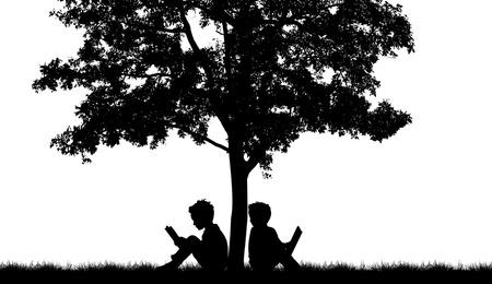 silueta niño: Siluetas de los niños leer el libro bajo el árbol