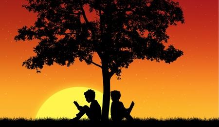 Silhouettes of children read book under tree photo