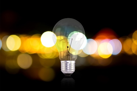 Electric light bulbs and lights out of focus photo