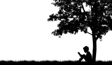 under the tree: Siluetas de los ni�os leer el libro bajo el �rbol