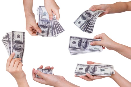 Collection of Hands holding dollars isolated on white background Stock Photo - 10948252