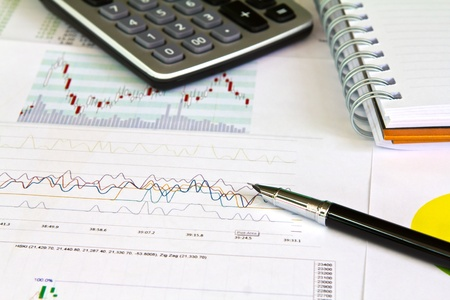 Pen and business graph Stock Photo - 10800091