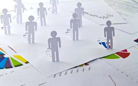 cross linked: Social Network concept : close up of people cut out of paper