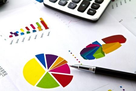 Pen et le graphique d'affaires Banque d'images