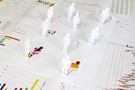 Social Network concept : close up of people cut out of paper photo