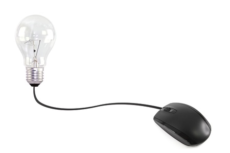 Computer mouse wire into the a lightbulb Stock Photo - 10789164