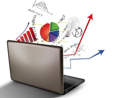 gestion empresarial: Los gráficos para portátiles y financiera Foto de archivo